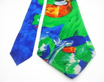Kandinsky Miró Paul Klee abstract art Expressionism cubism surrealism hipster tie necktie mens neckties ties wedding bohemian blue green