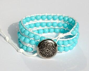 Wrap bracelet Bead bracelet Cord bracelet Blue bracelet for girlfriend gift Nautical bracelet Turquoise bracelet boho jewelry boho bracelet