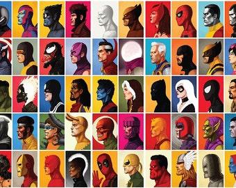 Xmen IronMan Marvel Poster Large A1 Captain America Avengers Deadpool Arty Effect Bedroom Poster