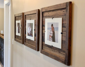 Set of 3 Rustic Wood Frames,  Reclaimed Wood Frame, 5 x 7 Picture Frame with Mat, 8 x 10 picture frame without mat, Free Shipping!