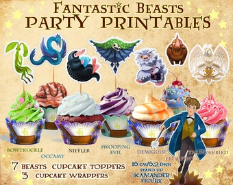 Fantastic Beasts cupcake toppers, Harry Potter party, Niffler, Bowtruckle, Harry Potter clipart, cupcake wrapper, Newt Scamander, printable