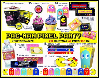 Pacman birthday printables, Pacman party, 80s party, Pacman banner, arcade birthday, pixels, cupcake wrappers, bottle labels, party supplies