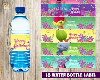 18 Trolls Water Bottle Label instant download, Printable Trolls Water Bottle Label, Trolls  Water Label, Trolls  printable