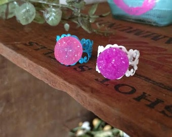 Modern Style Neon Ring Iridescent Druzy Gemstone Colors Lace Ring ~ Sale Expires Today
