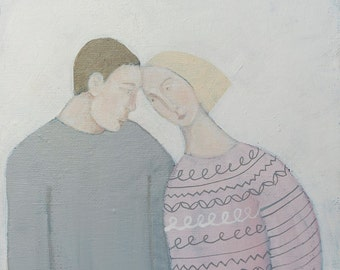 Two Heads Are Better Than One, original art, original painting, love, romance, couple, Valentines Day, marriage, anniversary