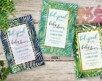 Couples Baby Shower Printable Invite with Palm leaves, Gold, Invitation, DIY Printable Digital, Watercolor