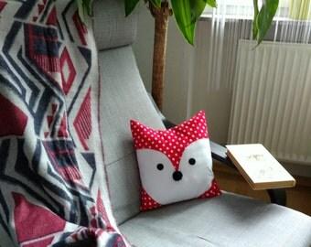 Christmas gift, fox throw pillow, fox decoration, animal pillow cute, fox gift cute, fox plushie, fox pattern, throw pillow