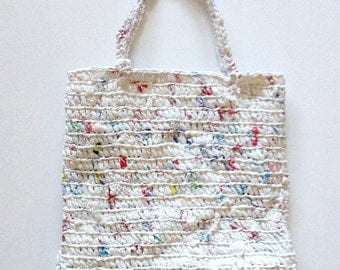 Zero Waste Eco Friendly Upcycled Plarn Crochet Tote / Handbag