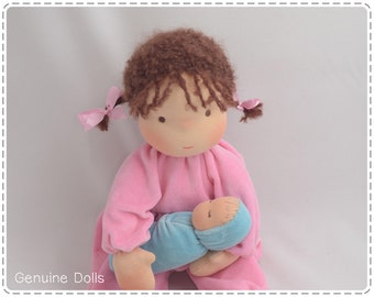 "Waldorf Doll. 14"". Waldorf toys, soft dolls, Waldorf baby doll, bunting baby. Brown eyes. Brown hair. Brunette."
