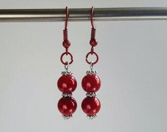 Handmade dangle earrings-coloured hooks-Boho-Festival-Rainbows-beads-Colour hooks-Earrings-Red-Lilac-Green-Light/ dark blue