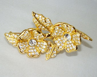 JoAN RIVeRS JEWeLRY Brooch, Vintage Duette Pave Crystal Rhinestone Gold Tone Flower Brooch Pendant Pin Removable Clip On Earrings
