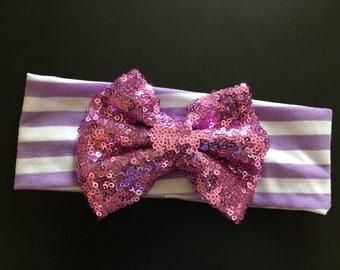 Purple sequin bow with headband