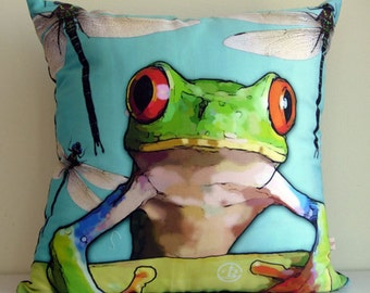 Frog THROW cushion cover,Green,FROG,dragonfly,animal pillow,turquoise,eco friendly organic cotton, decorative pillow, cushion,43cm x 43cm