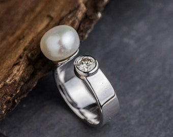 Brilliant Cut Natural Diamond Ring with Culture Pearl set in 14K White Gold, White Diamond and Pearl Ring, White Gold Ring, Zehava Jewelry