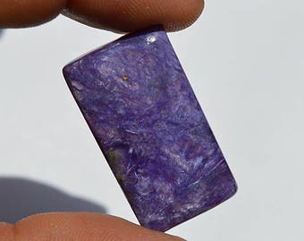 40.5 Cts Natural Superb Russian Rare Charoite Gemstone Rectangle Shape Rare Charoite Cabochon 32x18x6.5 MM  R07752