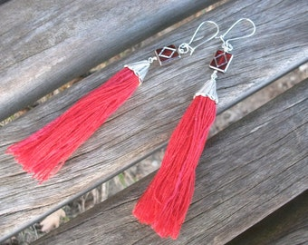 Tassel earring, red silver colour, textile, bridesmaid, vintage look, Boho hippie steampunk, tassel pierced earrings, as Earclip