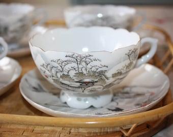Beautiful Asian Cranes Vintage Tea Set for 4: 12-piece set of 4 cups , saucers, dessert plates