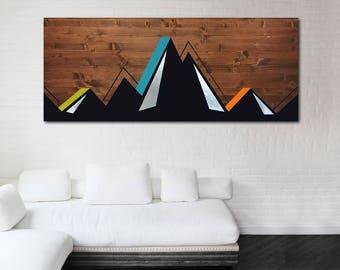 Mountain Wood Art, Mountain Metal Art, Mountain Wall Art, Abstract Mountain Art, Modern Wall Art Decor