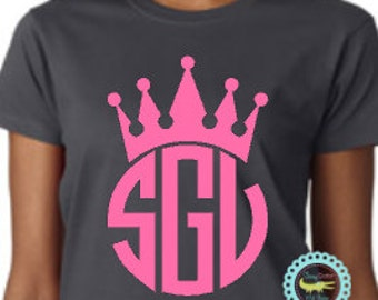 Womens CROWN MONOGRAM Plus Size Tops, Plus Size Monogrammed Shirt, Personalized Princess Crown T Shirt. Just for Her, Plus Size Women Tshirt