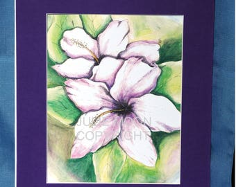 white and lavender lily with pen and ink watercolor print 8x10 with matte(5x7 print)