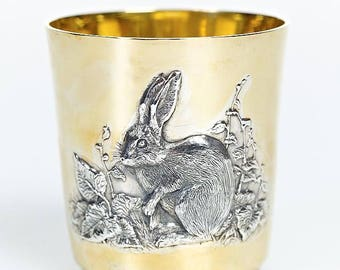 """Silver glass with Chinese Zodiac Horoscope Astrology Signs of""""Rabbit"""""""