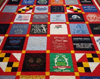 T-shirt quilts. Memory tshirt quilts made from 9 to 49 tee shirts. Dorm T shirt quilt, with free embroidered label. Deposit only.