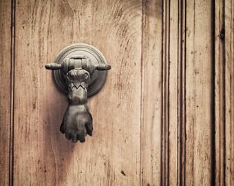 Door knocker photography, door photograph, brown door print, Paris door, Paris decor, french wall art, foyer wall art, rustic home decor