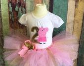 Peppa Pig Birthday outfit-Peppa Pig-Peppa Tutu-Birthday Outfit-Peppa Birthday-Peppa Costume-Tutu outfit-Girls Birthday-Birthday Dress