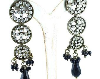 Black Onyx Art Deco Silver Drop Earrings