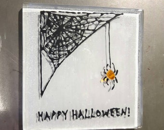 Happy Halloween fused glass fridge magnet gift