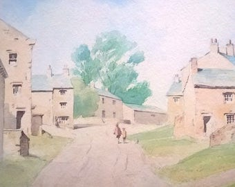 ROGER DAVIES Signed Original Vintage Watercolour Painting Grassington Yorkshire Dales England