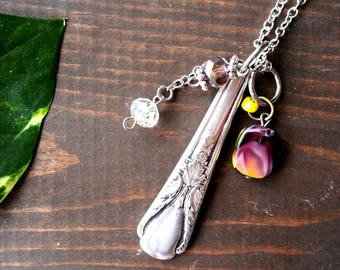 Spoon Handle Pendant, Spoon Necklace, Silverware Jewelry, Handmade Jewelry, Custom Gift, Upcycled Silverware, Silver Plated Necklace