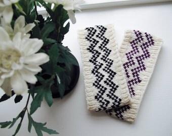 Hand knit headband for women, wool headband for women, pure wool, Chevron headband, Nordic Fair Isle, winter headband, women's knit headband