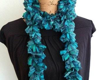 Blue-Green Frilly Scarf, Ruffle Scarf, Aqua Crochet Scarf, Ribbon Scarf