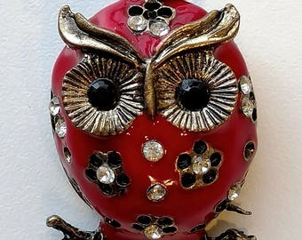 Chubby Red & Bronze Owl Pendant