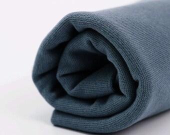 Dark Grey Organic Rib Knit Fabric - UK Seller