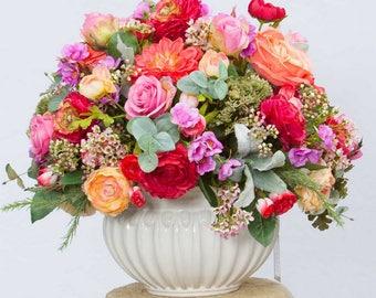 XL Silk Floral Arrangement, Regal Floral Centerpiece, Table Centerpiece, Silk Floral Design, High End Centerpiece, Mixed Floral Arrangement