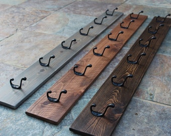 "Coat Rack / Rustic Weathered / 48"" Long 6"" Wide / 6 Hooks / Custom Dimensions Available"