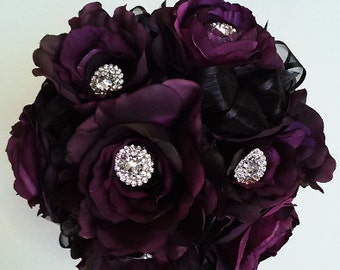 Plum Bridesmaid Bouquet-Purple Wedding Bouquet-Silk Flower Wedding Bouquet-Rhinestone Bridesmaid Bouquet-Bridal Toss Bouquet