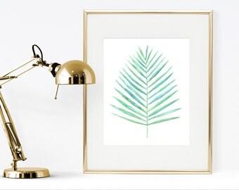 Areca palm leaf watercolor instant download, printable palm leaf, instant download botanical watercolor art, green wall decor, tropical art