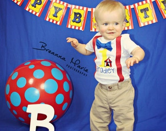 Circus 1st birthday - family shirts - suspenders - circus tent- circus Birthday party