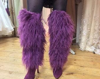 christian louboutin purple goat fur suede thigh high faun boots, size 10 us, 8 uk, 41 eur