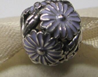 Pandora Sterling Silver Enamel Lavender Daisy Meadow Charm # 791487EN66