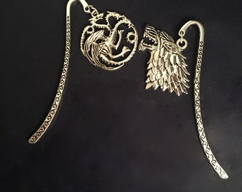 A Game of Thrones Inspired Long Metal Silver Coloured Bookmark - Houses Stark / Targaryen