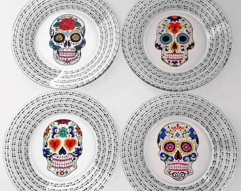 Sugar Skull Plates, Sugar Skull, Hand Painted Glass, Day of the Dead, Dia De Los Muertos, Sugar Skull Wedding, Spanish Wedding, Wedding Gift