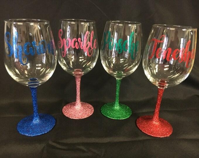 Glitter Wine Glasses-24hr Shipping!!
