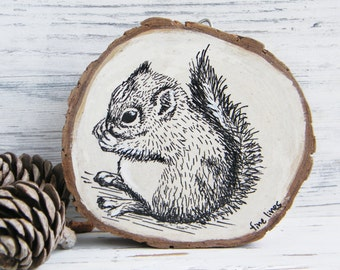 Nursery decor, Squirrel print, Squirrel wood picture, Woodland nursery art, Woodland baby shower, Rustic sign, Country decor, Back to school