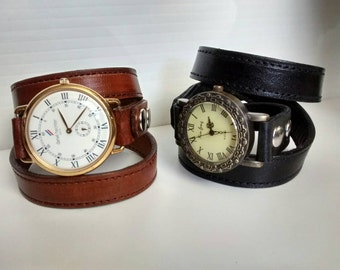 LEATHER Wrap around wrist WATCH BAND