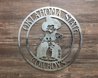 Oklahoma State Cowboys Cirlce With Pistols Firing Pistol Pete (OSU,Home Decor, Football, Sports, Wall Art, Metal Art)