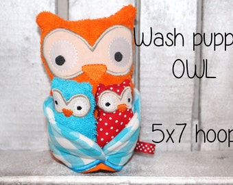 Wash Puppet - OWL - ITH - 5x7 hoop - In The Hoop - Machine Embroidery Design File, digital download